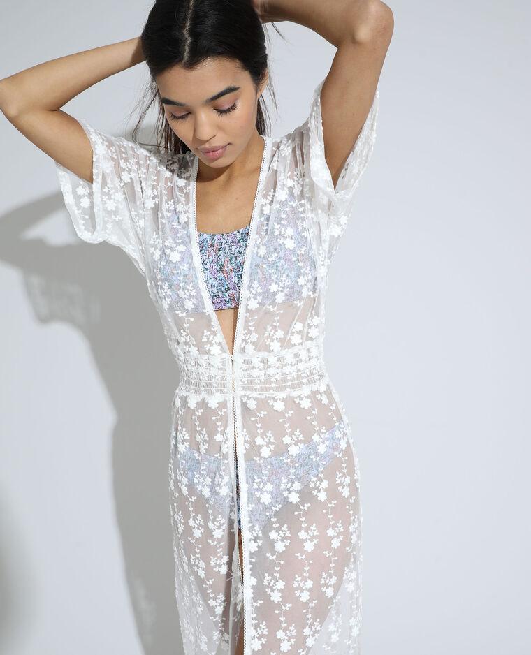 Robe longue transparente brodée blanc - Pimkie