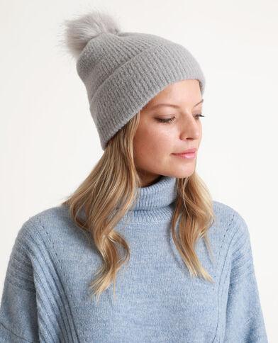 Bonnet à pompon gris perle