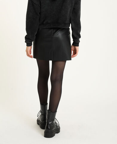 Jupe courte simili cuir noir - Pimkie