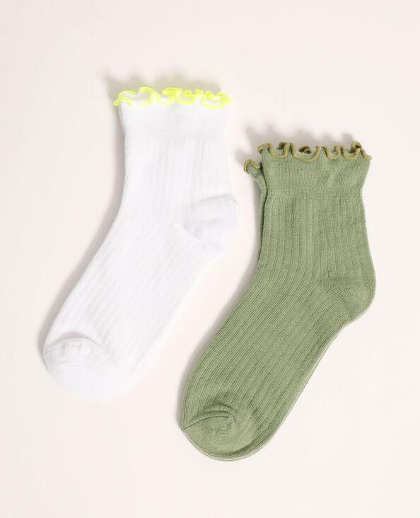 Lot de 2 paires de chaussettes roulottées vert - Pimkie