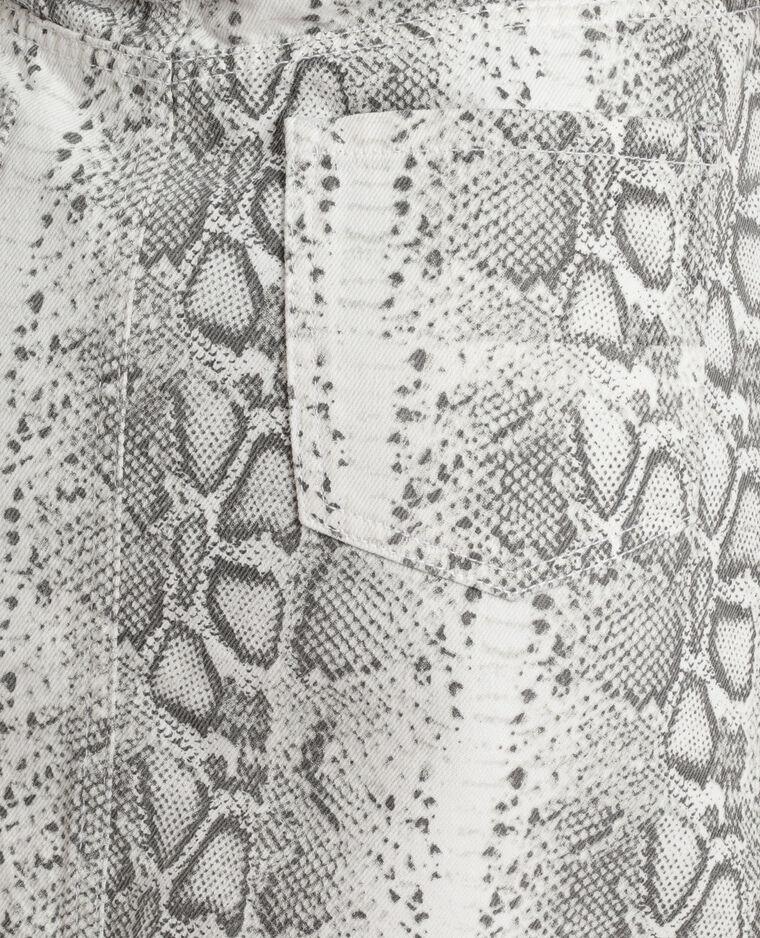 Jupe en jean python ecru
