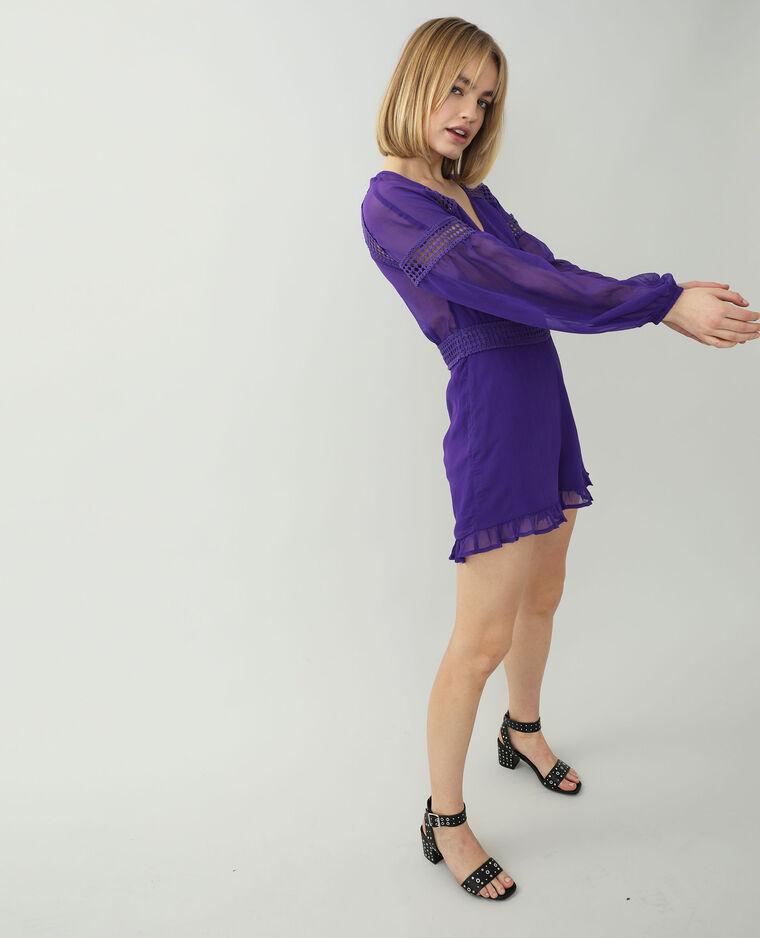 Combishort fluide avec guipure violet - Pimkie
