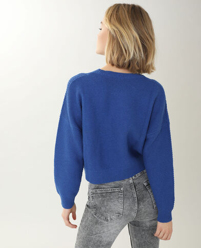 Pull maille reliefée bleu