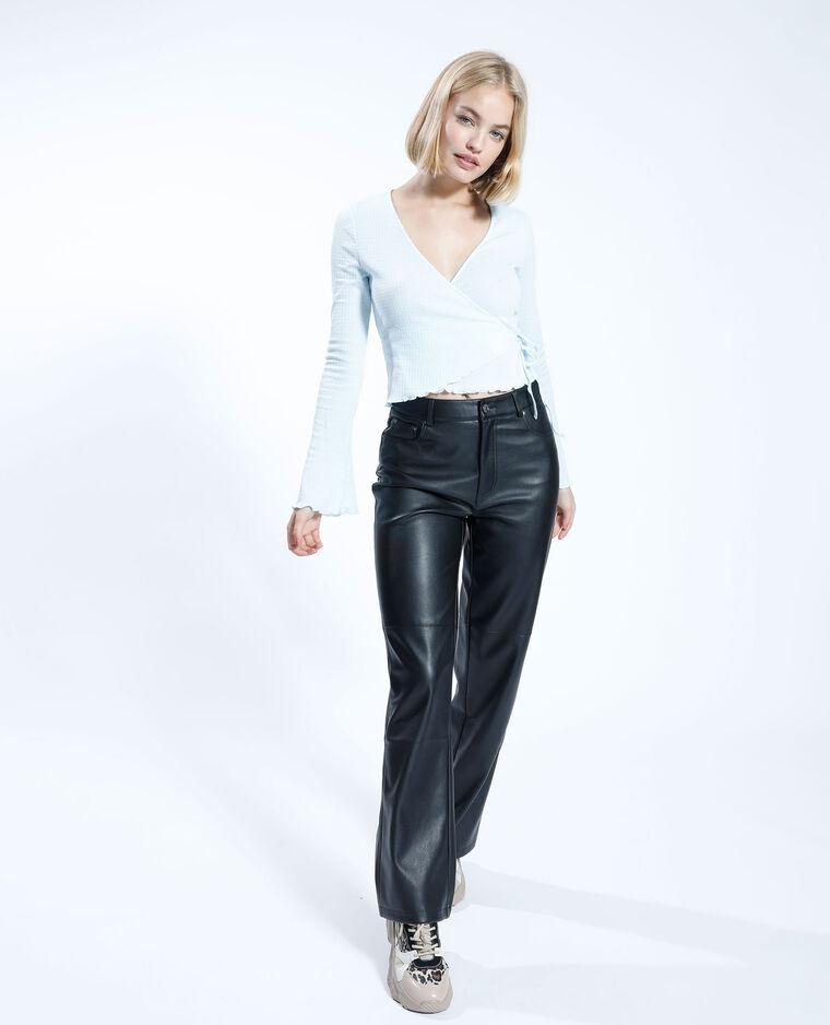 Pantalon droit en simili cuir noir - Pimkie