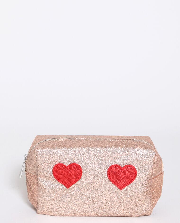 Trousse de maquillage coeurs rose pâle