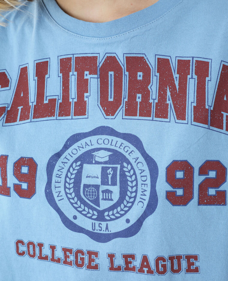 T-shirt cropped bleu clair - Pimkie