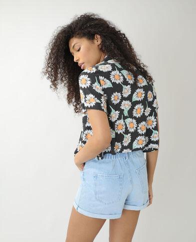 Chemise ample à pois et à fleurs noir - Pimkie