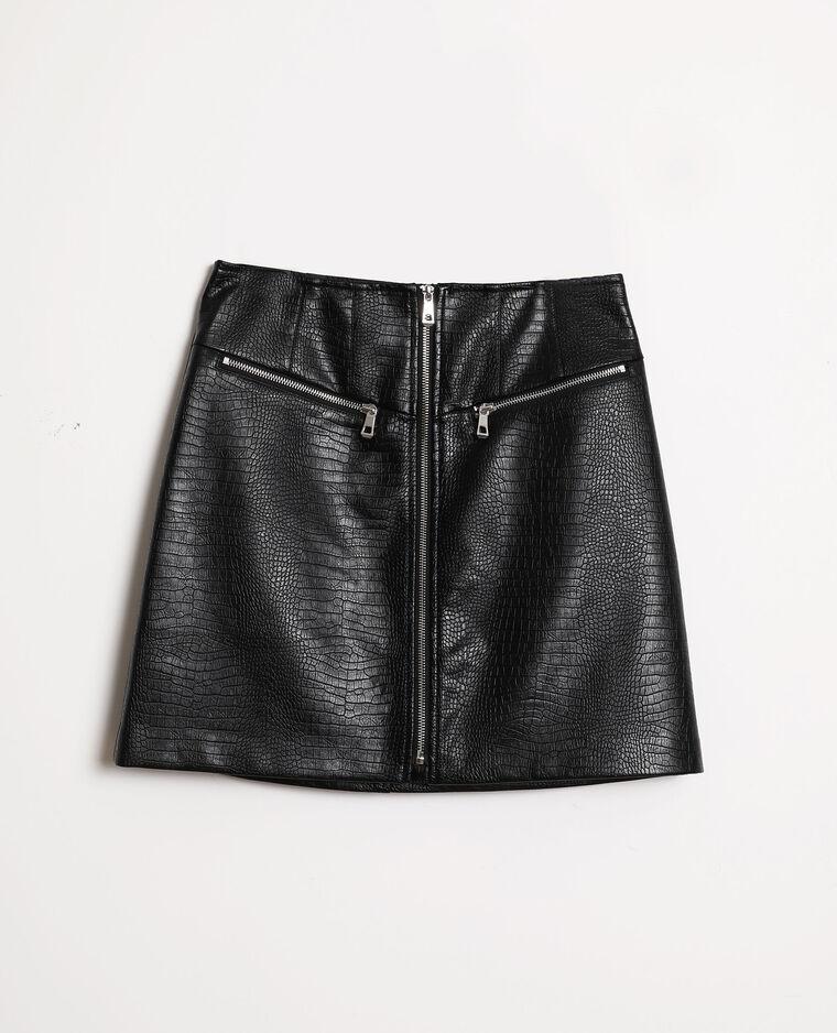 Jupe simili cuir croco noir - Pimkie