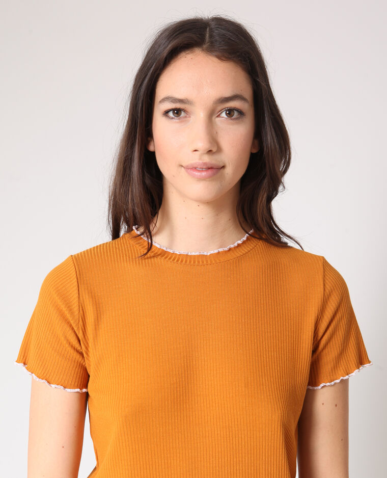 T-shirt texturé camel