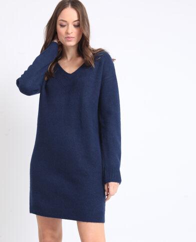 368531df57c1 Robe pull à col V bleu foncé