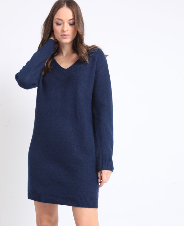 593bea672ac8e Robe pull à col V bleu foncé