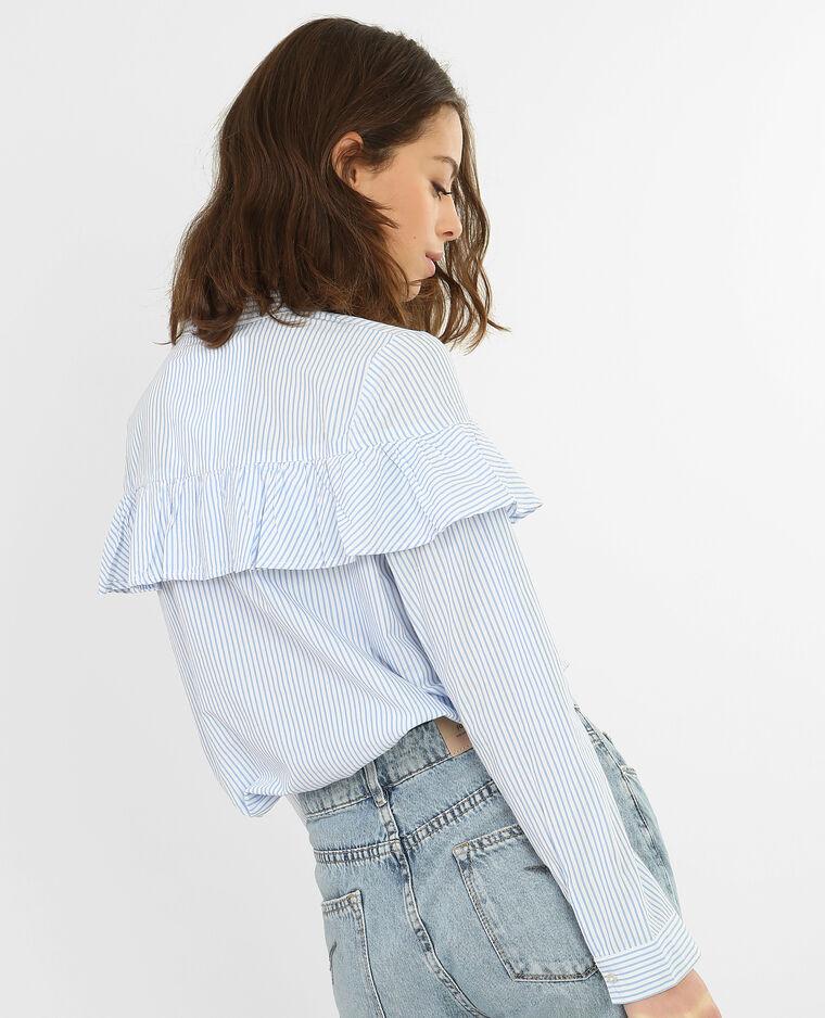 Chemise rayée à volant blanc