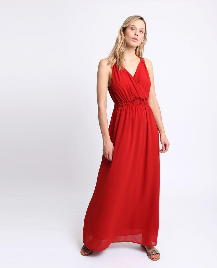 Robe longue empire rouge
