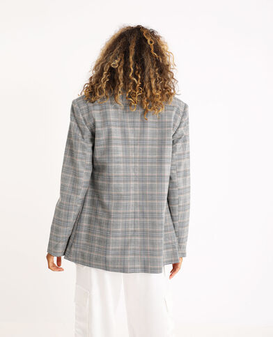 Blazer oversized à carreaux gris