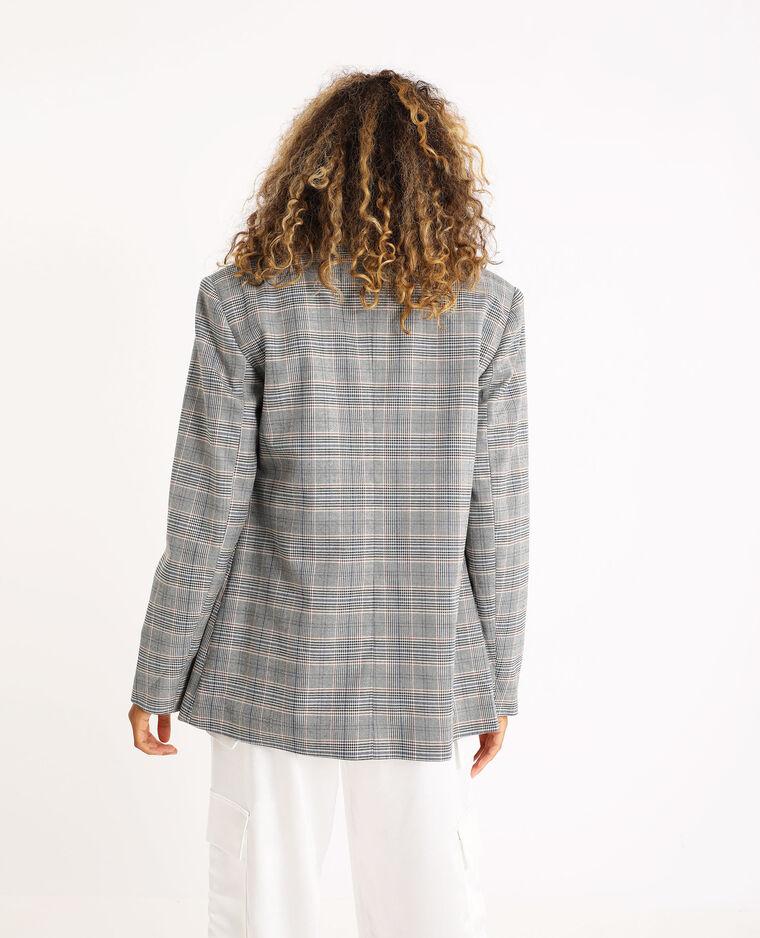 Blazer oversized à carreaux gris