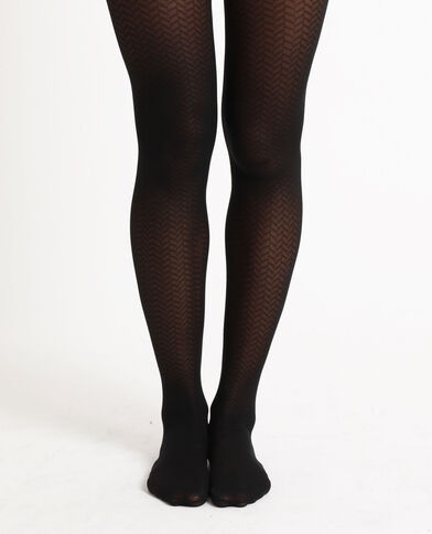 Collants à zig zag noir