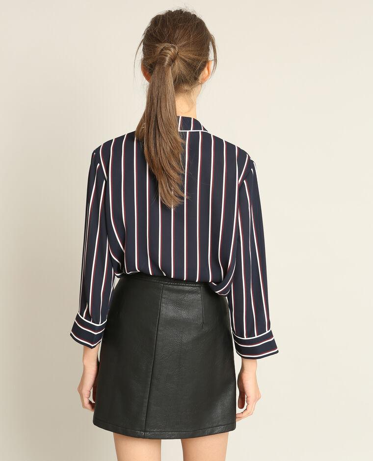 Jupe en faux cuir zippée noir