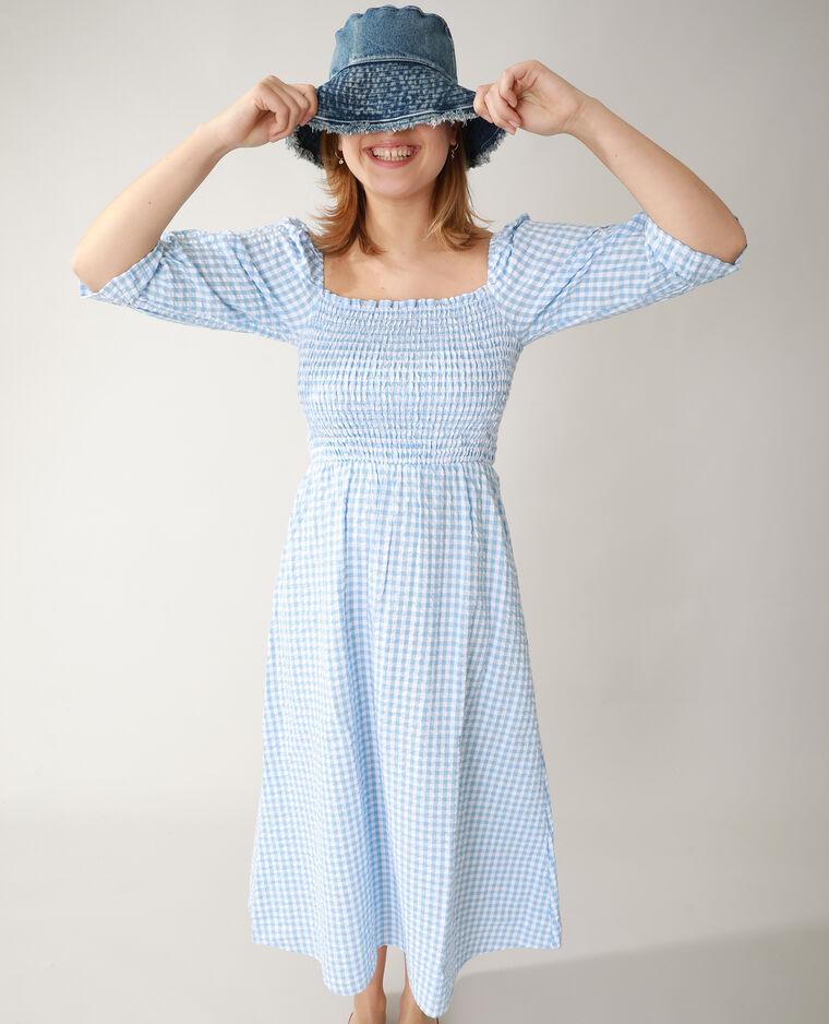 Robe smockée Vichy bleu - Pimkie