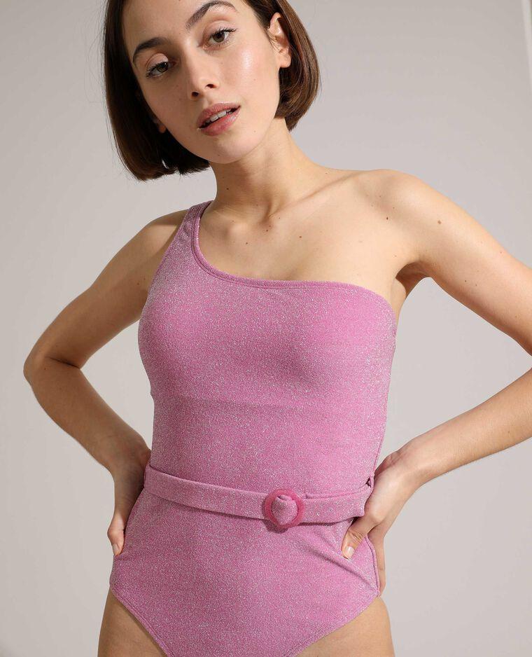 Maillot une pièce one shoulder à paillettes rose fushia - Pimkie
