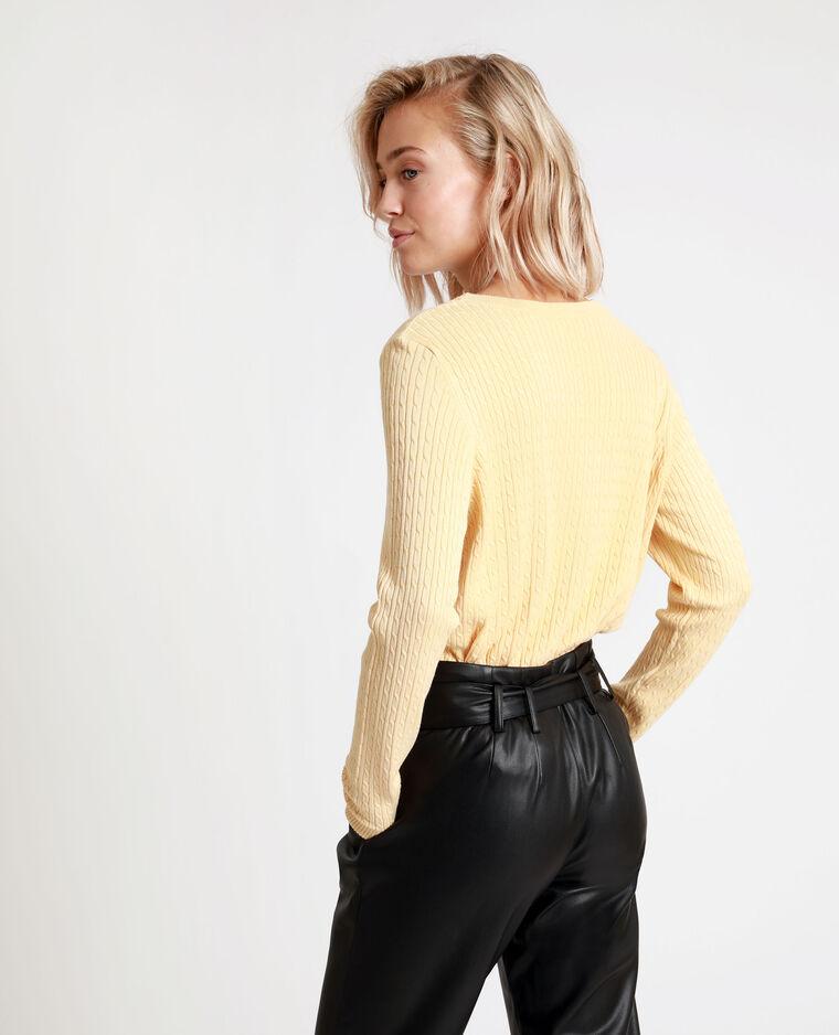 Pull fin jaune