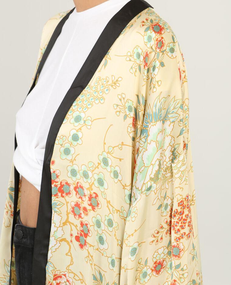 Long kimono à franges blanc cassé