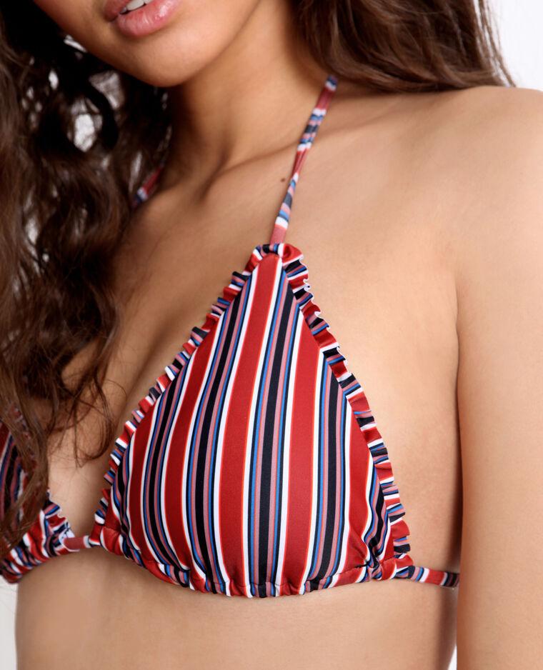 Haut de bikini à rayures rouge