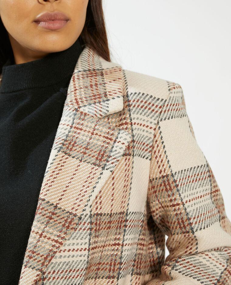Manteau long à carreaux beige - Pimkie