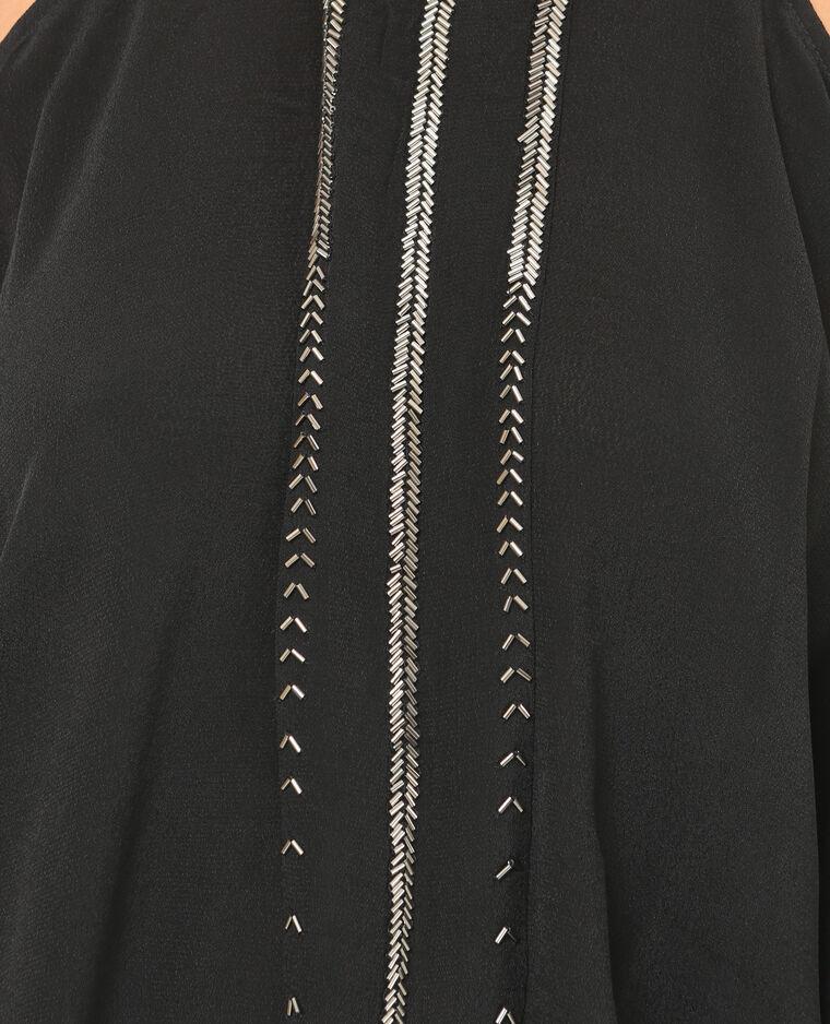 Chemisier perles manches peekaboo noir