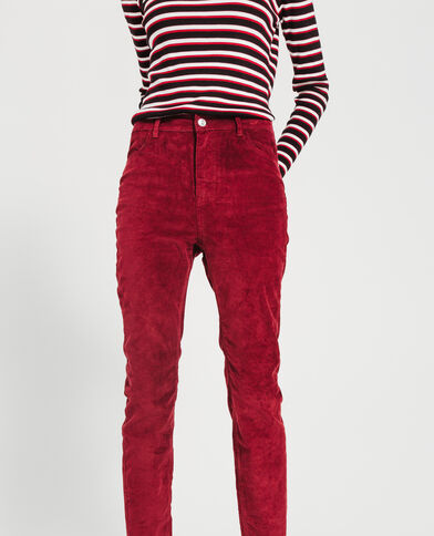 Pantalon skinny velours bordeaux