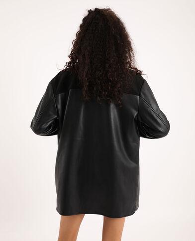 Veste longue simili cuir noir