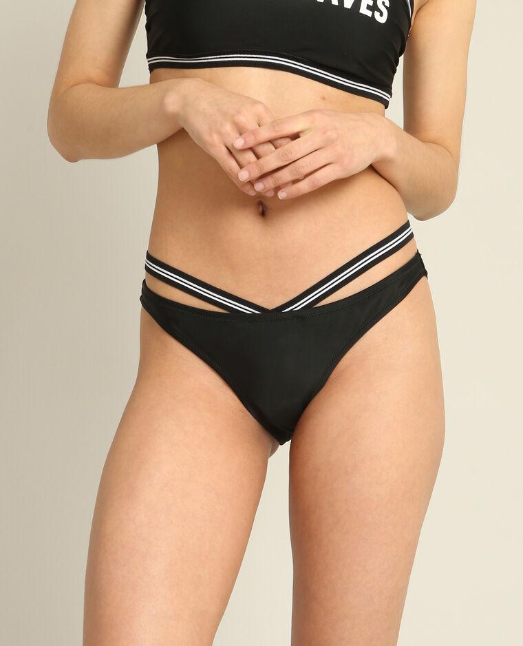 Bas de bikini bimatière noir