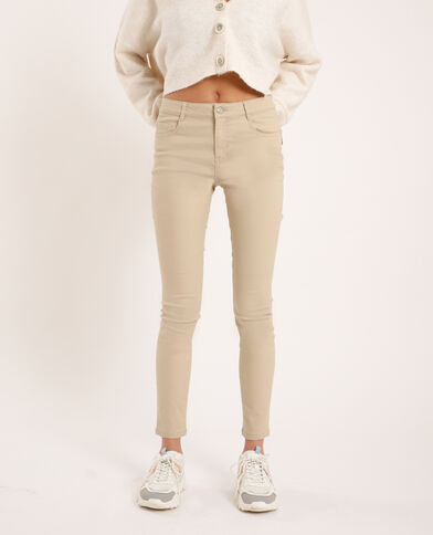 Skinny push up mid waist beige