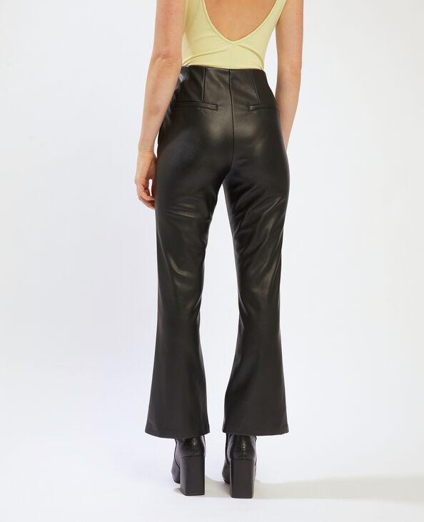 Pantalon flare en simili cuir noir - Pimkie