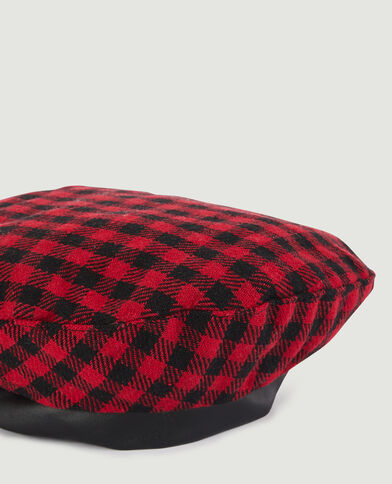 Béret motif tartan rouge - Pimkie