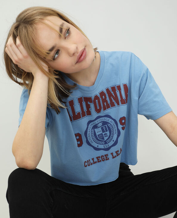 T-shirt cropped bleu clair