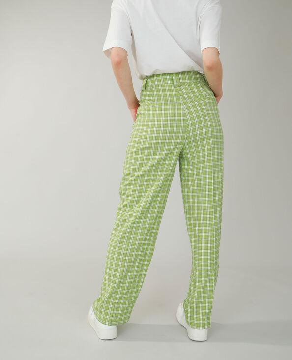 Pantalon wide leg à carreaux vert