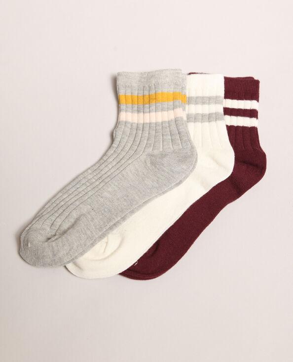 Lot de chaussettes rayées gris