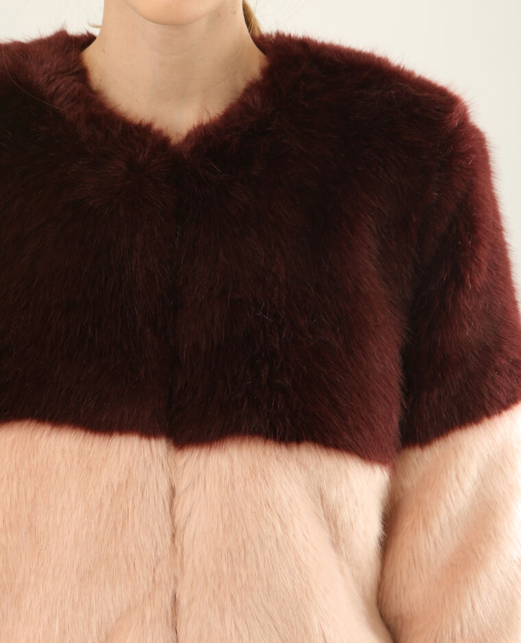 Manteau en fausse fourrure Bordeaux
