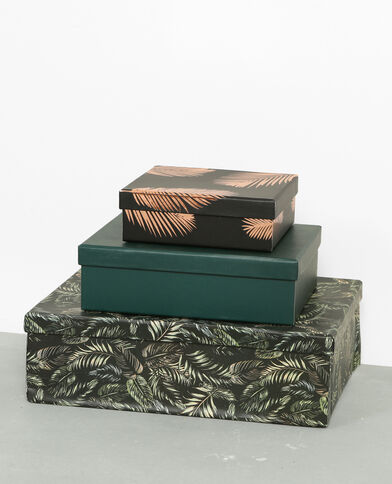 Lot de 3 boîtes art-déco vert