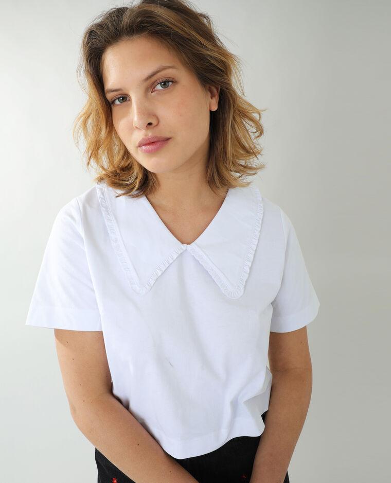 T-shirt maxi col Claudine blanc - Pimkie