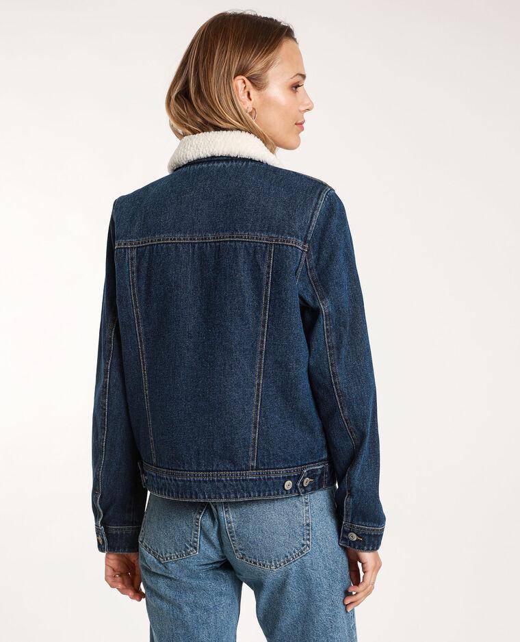Veste en jean doublée bleu foncé