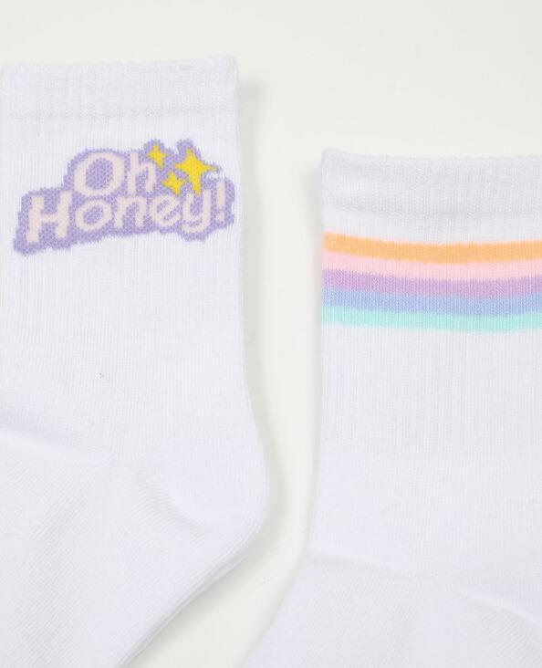 Lot de 2 paires de chaussettes hautes blanc - Pimkie