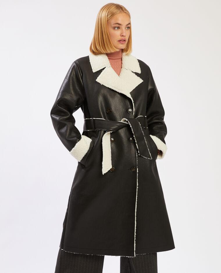 Manteau simili cuir doublé noir - Pimkie