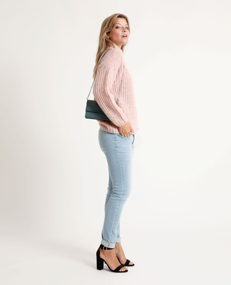 Pull chiné rose