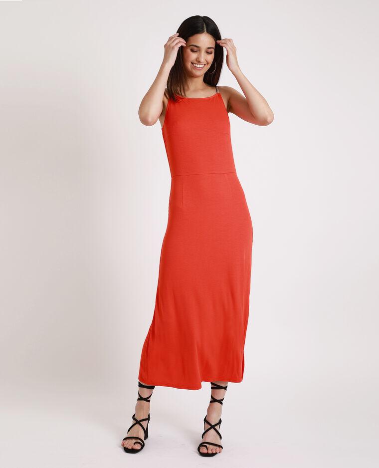 Robe longue côtelée rouge