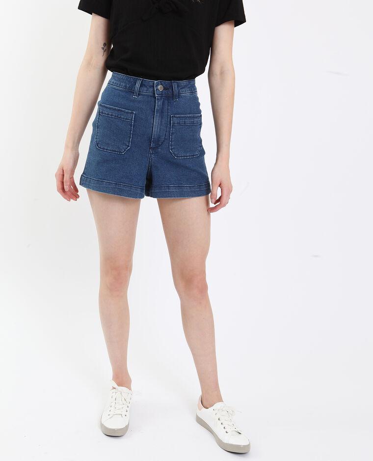 Short en jean high waist bleu foncé