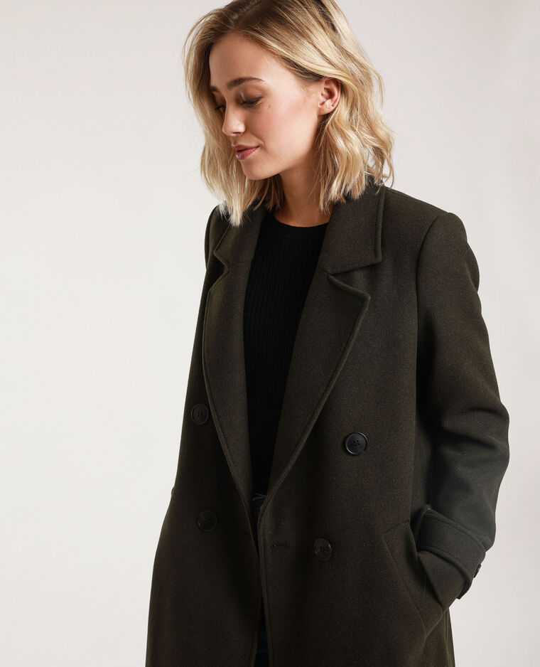 Manteau long avec laine kaki - Pimkie