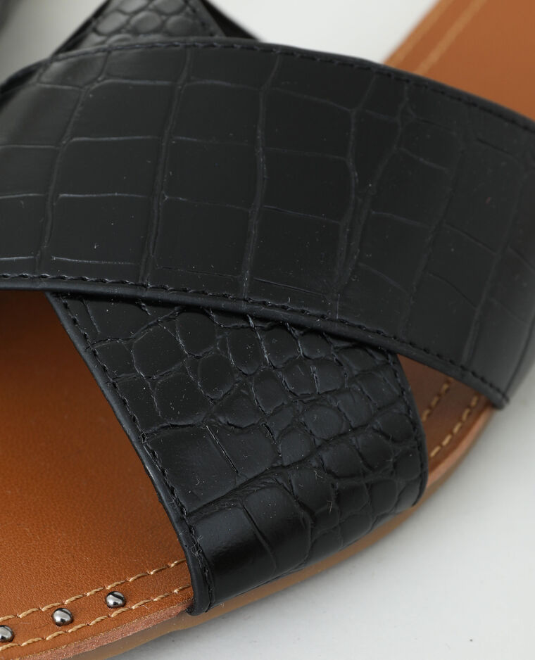 Mules effet croco noir - Pimkie