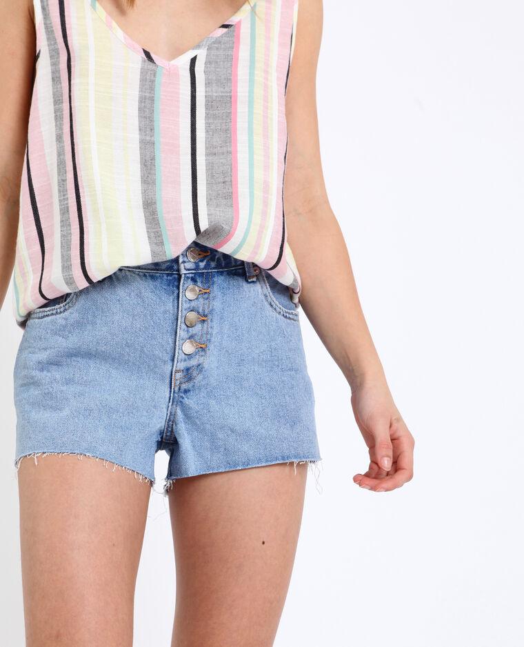 Short en jean mid waist bleu délavé