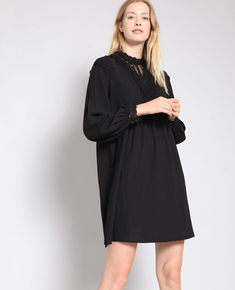 Robe détail dentelle noir